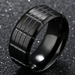 ~• Bold Black Wedding Band •~
